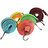 BAMBBLE® High Quality 6 Feet Multipurpose Ultra Flexible Rectangle Shaped Bungee Rope | Motorcycle Bike Luggage Strap | Elastic Rope | Bungee Cord With Metal ABS Hook (Multicolored, Set of 2)