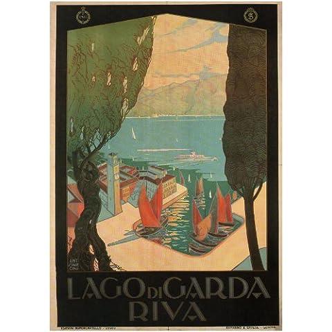 LAGO DI GARDA, RIVA Italia Poster di Viaggi di Antonio Simeoni 1926 A3 Finitura Lucida (420 mm x 297 mm)