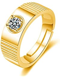 Exclusive Limited Edition 24KT Gold Swarovski Solitaire Adjustable Mens Rings