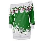 SEWORLD Weihnachten Retro Christmas Weihnachtsdruck Frohe Weihnachten Santa Schneeflocke Drucken Tops Langarm Lange Bluse Shirt(X1-grün,EU-34/CN-M)