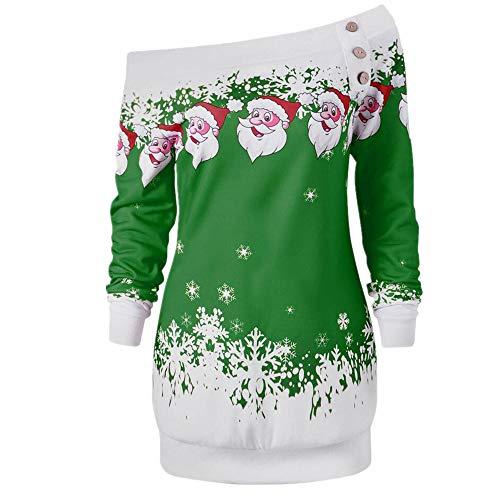 SEWORLD Weihnachten Retro Christmas Weihnachtsdruck Frohe Weihnachten Santa -