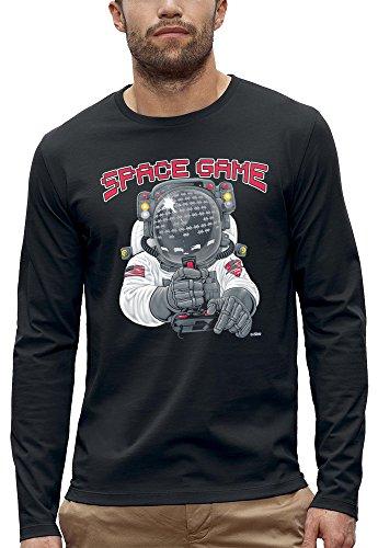 3D animierte Langarm T-shirt SPACE GAME Augmented Reality - PIXEL EVOLUTION - Mann Schwarz