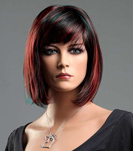 Forever Young Ladies 2 Tone Auburn Black Blend Wig in Classy Short Wig Bob Style by Forever Young -