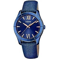 Calypso Damen-Armbanduhr Fashion analog Leder Textil-Armband blau Quarz-Uhr Ziffernblatt blau kupfer UK5718/4
