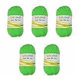 5er Pack Uni Wolle neon grün 100% Polyacryl Wolle 250g, Garn zum Stricken & Häkeln, Marke: LaLuna®