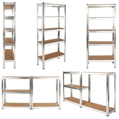 Heavy Duty Metal Storage Racking Garage Shelving Warehouse 5 Tier Unit MDF Shelf Silver SGS Approved Galvanised