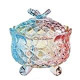 CHICOLY Elegante Geprägte Bunte Kristallglas Pralinenschachtel mit Deckel Essen Schmuck Aufbewahrungsbox Beste Geschenk für Familie Freunde