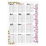 Geburtstagskalender in rosa I DIN A2 groß I Dauerkalender jahresunabhängig I Wandkalender für Mädchen, Frauen, WG, die ganze Familie I dv_298