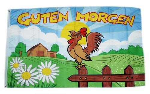 Fahne / Flagge Guten Morgen Hahn 90 x 150 cm Morgen Hahn