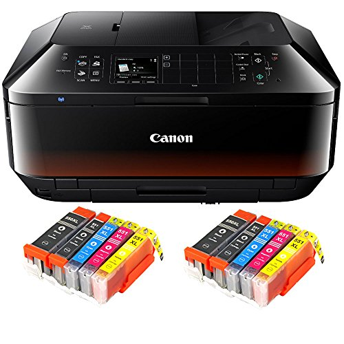 Canon Pixma MX725 MX-725 All-in-One Farbtintenstrahl-Multifunktionsgerät (Drucker, Scanner, Kopierer, Fax, USB, WLAN, LAN, Apple AirPrint) Schwarz + 10er Set IC-Office XL Tintenpatronen 550XL 551XL