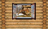 Tapeto Fototapete - Ausblick Hütte Tiger Natur Wasser - Vlies 368 x 254 cm (Breite x Höhe) - Wandbild Holzbalken