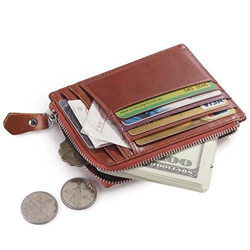 Teemzone Tarjetero Mujer de Cuero Titular de Tarjetas de Crédito con Billetero Bolsillo de Cremallera de Moneda (Rojo-marrón)