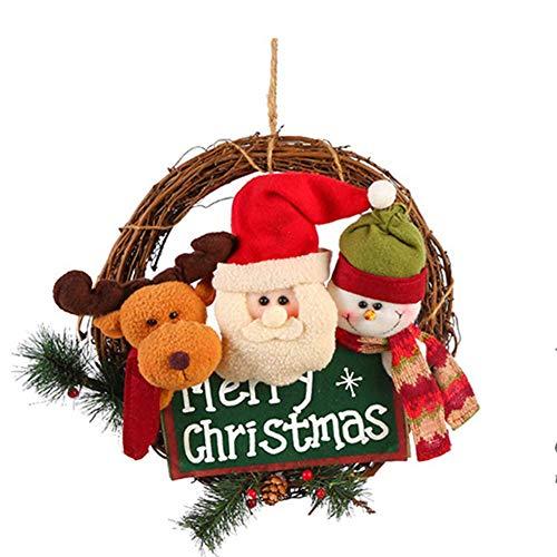 """LYDB Weihnachtskranz, Haustür-Weihnachtsrebe, Anhänger, Künstliche Außendekoration, Alter Mann-Schneemann, Hirsch, Hängende Girlande, 13"""",Green"""
