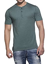 Clifton Mens Henley Half Sleeve T-Shirt-Bottle Green- Melange