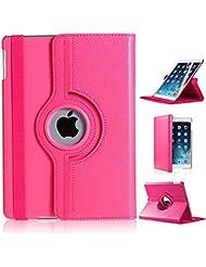 NUEVO diseño rosa oscuro (Piel Sintética, rotación de 360° Smart Stand Funda para iPad Pro de 9,7