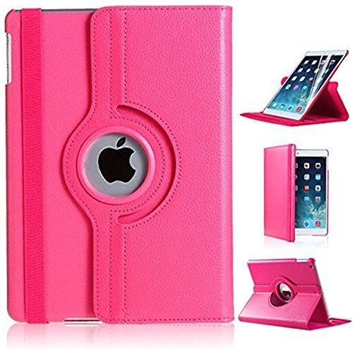 Nouveau design rose foncé en PU imitation cuir avec support rotatif à 360° Etui folio Housse pour iPad 3