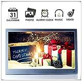 Aluminiumlegierung Metall 12 zoll Digitaler Bilderrahmen IPS Display 1920*1080 HD-Video Wiedergabe, Slim Elektronischer Bilderrahmen mit Fernbedienung, Zufallswiedergabe, MP3- und Video-Wiedergabe, Schönes Geschenk (Grau)