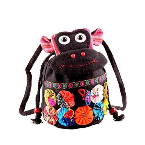 Binhee Damen Canvas Handtaschen Die New Vintage Folk Style Cloth Cartoon Damen Tasche - Vintage Schwarz Folk Art