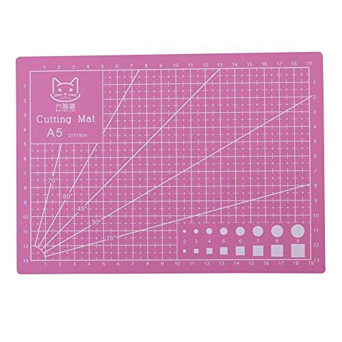A5 Durable PVC Schneidematte, 210 × 150 mm Bunte Selbstheilende Schneidauflage, Rutschfeste Schneidebrett für DIY Handmade, Quilten, Nähen und Kunsthandwerk Projects Tool(Pink)