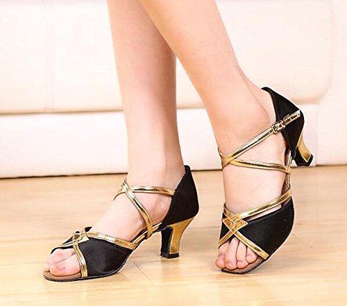 Kuki Chaussures De Danse Latine Pour Adultes Satin Chaussures De Danse Respirante Danse Carrée Boucle Douce À La Fin De La Danse Moderne Chaussures 3