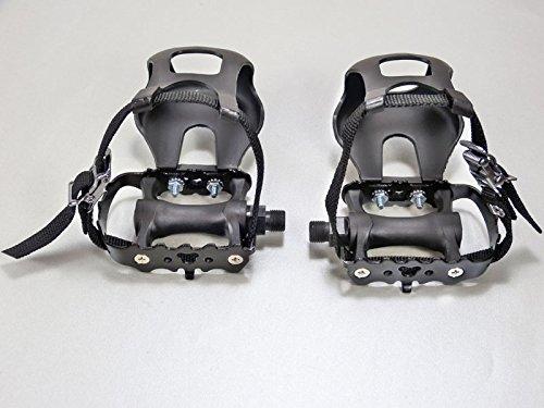 Singlespeed Fahrradpedale mit Schlaufen aus Eloxiertem Aluminium komplett schwarz Pedalhaken mit verstärkten Nylongurten Fahrradpedale