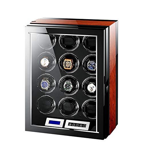 Audivik Uhrenbeweger für Automatikuhren 12,Leise Batterie Batteriebetrieben Watch Winder Box Motor Uhrenbox Uhrenboxen Uhrenaufbewahrung Uhrenkasten Uhrenvitrine Uhrenschatulle Schwarz und Brown