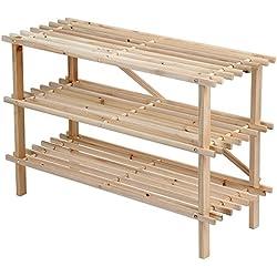 Miadomodo - Estantes para zapatos con 3 niveles de madera de abeto