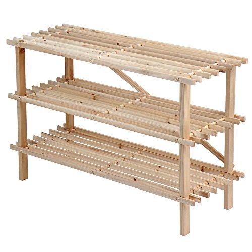 Miadomodo Schuhregal Regal mit 3Ebenen aus Fichtenholz
