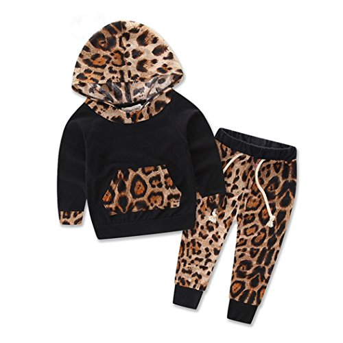 Bekleidung Longra Baby Kinder Mädchen Jungen Set Langarm Leopard Print Anzug-Jacke Hoodie Tops + Hosen Outfits Set Baby Bekleidungset (6 Monate-3Jahre) (70CM 6Monate)