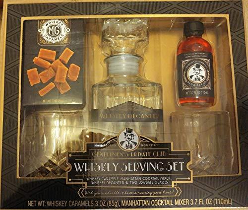 The Modern Gourmet Gentlemen's Private Club Whiskey-Servier-Set mit Dekanter, Gläser, Whiskey-Karamellen und Manhattan Cocktailmixer Geschenkset -