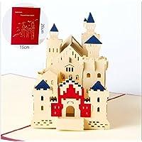 Handmade 3D popup Pop-up-Grußkarte Geburtstagskarte Deutschland Bayern Schloss Neuschwanstein Schwan Schloss romanischen Palast Hügel Dorf Freundschaft Muttertag Karte Valentinstag Karte Vatertag.