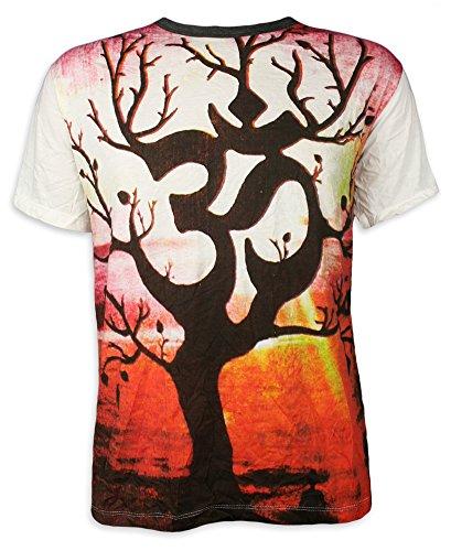 Weed Herren T-Shirt Om Baum des Lebens Aom Symbol Buddhismus Hinduismus Yoga (Weiß M)