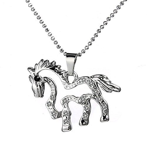 HuamaoJC modische Halskette mit Pferdeanhänger für Damen, süßes Accessoire, Kristall-Schmuck, Valentinstag, Weihnachten, Halloween, Jahrestag, Geburtstag, usw.