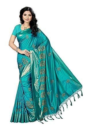 Rani Saahiba Art Silk Saree with Blouse Piece (SKR3634_Turquoise_one size)