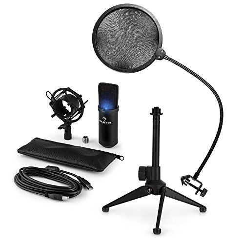 auna MIC-900B-LED • Mikrofon-Set V2 • 3-teilig • USB Kondensatormikrofon + Popschutz + Mikrofon-Tischständer • Nierencharakteristik • Plug & Play • 35cm Schwanenhals • Höhenverstellbar • schwarz
