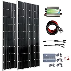 ECO-WORTHY 300W Solar Panel Kits for 12v or 24v Off Grid Tie Battery Charging: 2pcs 160 Watts 12 Volt Monocrystalline Solar Panels + 30A Charge Controller + Solar Cable + MC4 Branch Connectors Pair + Z Bracket Mounts