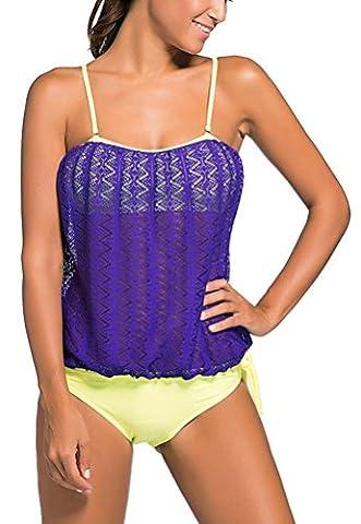 SunIfSnow Bikini - Tankini - Uni - Sans Manche - Femme - violet - Large