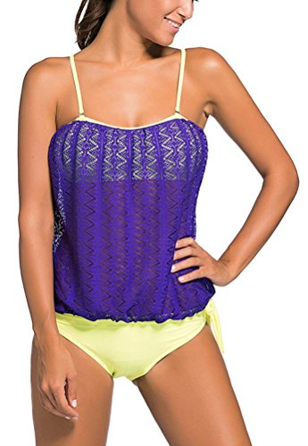 Turquoise Strapless Dress (SunIfSnow Bikini Damen Tankini, Einfarbig Gr. Medium, Purple Briefs)