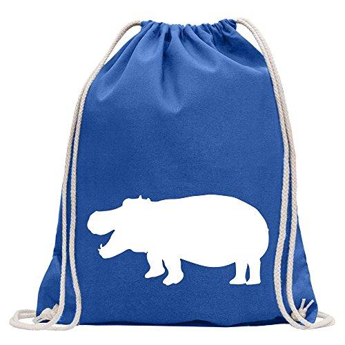 Kiwistar Flusspferd - Nilpferd - Hippo Turnbeutel Fun Rucksack Sport Beutel Gymsack Baumwolle mit Ziehgurt -