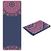 TOPLUS Travel Yoga Mat - Foldable 1/16 Inch Thin Hot Yoga Mat, Sweat Absorbent Anti Slip, High-Grade Natural Suede for Travel, Yoga and Pilates, Coming with Carrying Bag (Red Flower)