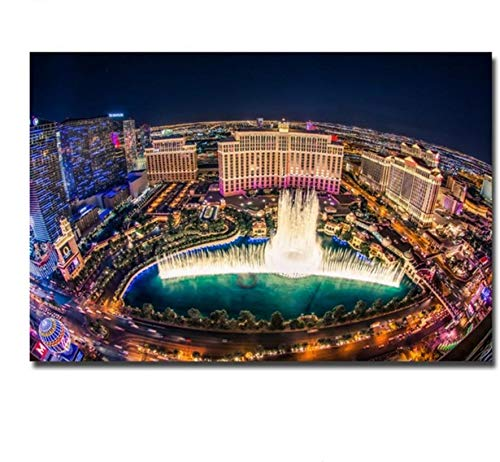 5D Diamant Malerei DIY Las Vegas Bellagio Brunnen Zeigen Stadtbild Stickerei Mosaik Wandkunst Rahmenlose 40X50CM