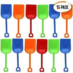 Bramble 15 Pack Pelles de Plage en Plastique, 23cm - Couleurs Assorties - Pelles de Sable pour Les EnfantsBébés Tout-Petits - Jeux de Sable et de Plage