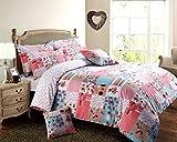 Para cama de matrimonio diseño de juego de funda de edredón rosa