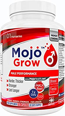 Male Performance Enhancement Supplement | One a Day Men's Libido & Virility Enhancer Pills | Testosterone Booster | Natural Herbal V Formula For Stamina, Energy & Endurance + Money Back Guarantee | MOJO™ GROW from Get Mojo