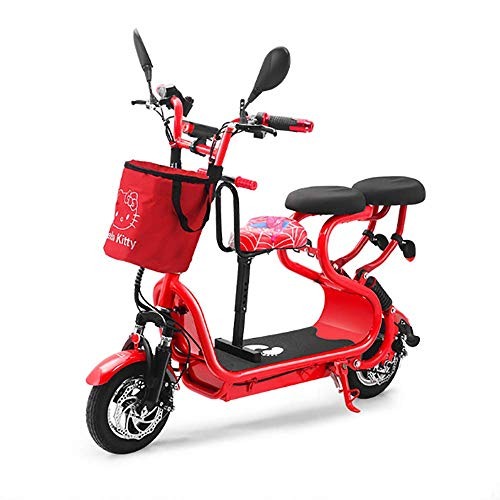 XPZ00 Mini Coche Eléctrico Adulto De La Batería De Litio De La Vespa Adulta del Scooter,Red
