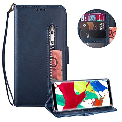 Reißverschluss Brieftasche für Samsung Galaxy Note 8,Gurt Wallet Handyhülle für Samsung Galaxy Note 8,Moiky Klassisch Dunkel Blau Solide Farbe Klappbar Stand Leder Handytasche