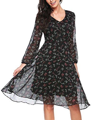 Zeagoo Damen Elegant Sommerkleid Chiffonkleid Cocktail Partykleid Blumen Kleid A Linie Knielang Blumen Schwarz L