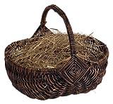 Heitmann Deco - Henkelkorb mit Bergwiesenheu - Handgefertigt aus Farn - Deko für Ostern und Frühling - Haus und Garten