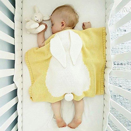 GWELL Babydecke Hase Handgefertigte Gestrickte Decke Schlafdecke Krabbeldecke für Kleinkinder Baby...