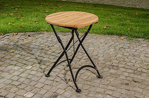 CLP Klapptisch MINTO, rund, in romantischem Design, aus galvanisiertem Eisen und hochwertigem Teak 60x60 cm
